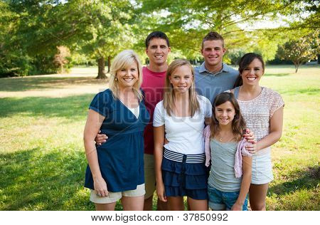 Large Happy Family Outside