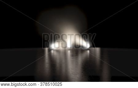 An Empty  Black Reflective Surface Stage Setting Backlit By Three Miultidirectional Spotlights On A