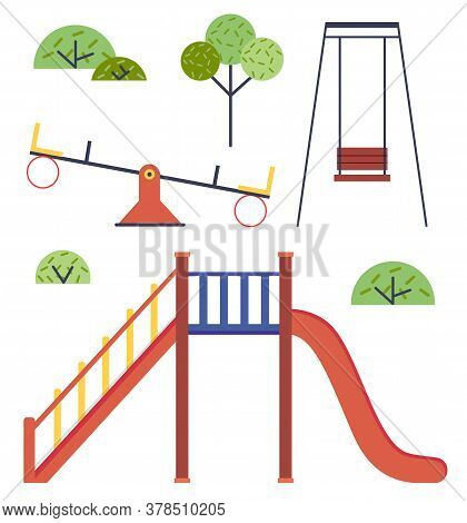 Isolated Playground. Set Of Vector Illustrations Without People. Slide, Up-and-down Carousel, Swing,