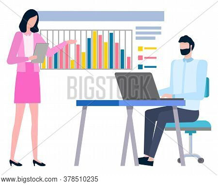 People Working In Team, Planning And Cooperation. Vector Man Writing Business Report, Woman Colleagu
