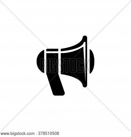 Megaphone, Loudspeaker, Alarm Loudhailer. Flat Vector Icon Illustration. Simple Black Symbol On Whit