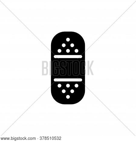 Medical Patch, First Emergency Plaster. Flat Vector Icon Illustration. Simple Black Symbol On White