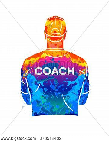 Abstract Sports Coach Stands With His Back In A T-shirt And Baseball Cap. Background For Sports Or C