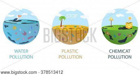 Environmental Pollution Concept. Marine Garbage, Indecomposable Trash. Toxic Industrial Waste. Water