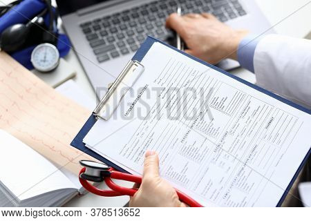 Filling Out Patient Medical History, Personal Data. Diagnosed Diseases Blood Vessels, Heart. Range S