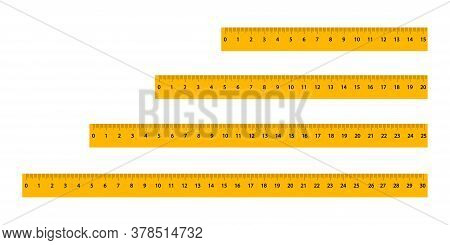 Set Of Yellow Rulers With A Black Scale And Numbers Of Different Sizes. Measuring Tool For Artistic