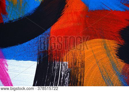 Hand Drawn Art Painted. Acrylic On Canvas. Abstract Colors Texture Background. Brush Strokes. Modern