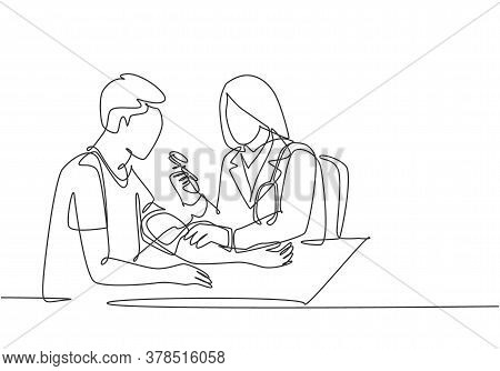 One Continuous Single Line Drawing Of Young Female Doctor Check The Patient Blood Pressure And Pulse