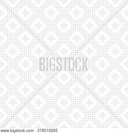Vector Seamless Pattern. Abstract Linear Textured Background. Modern Geometric Texture With Outline