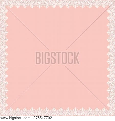 Classic Vector Square Frame With Arabesques And Orient Elements. Abstract Pink And White Ornament Wi