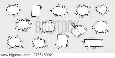 Comic Speech Bubbles With Halftone Dots And Stars, Hand Drawn Cartoon Balloons. Sound Effects In Pop