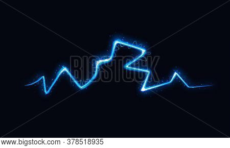 Vector Illustration Of Abstract Lightning On Black Background. Blitz Lightning Thunder Light Flash T