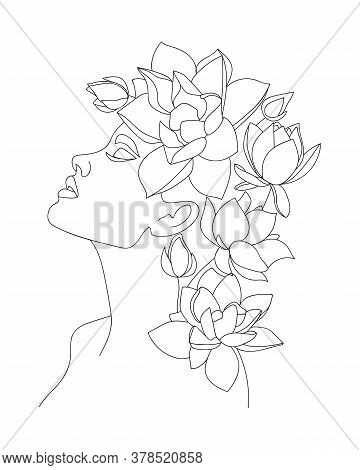 Portrait Of Beautiful Woman With Lotus Flowers On Head.  Line Drawing. - Vector Illustration.