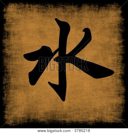 Water Chinese Calligraphy Five Elements Grunge Set poster