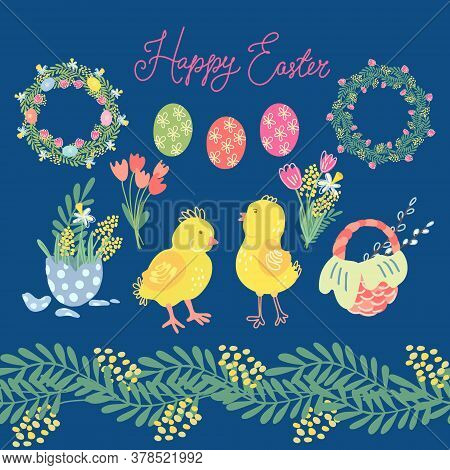 Hand Drawn Big Vector Set Of Easter Elements For Your Design Of Greeting Cards And Holiday Products.