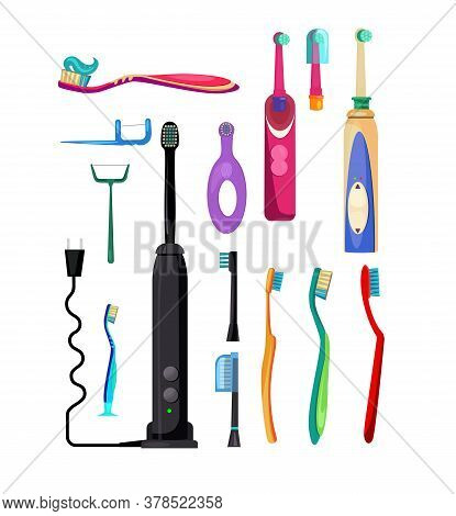 Electric And Simple Toothbrushes Set. Collection For Oral Hygiene. Can Be Used For Topics Like Denti