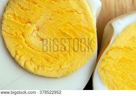 Close Up Medium Boiled Egg Portion, Boiled Eggs, Farm Fresh Eggs Taste Better.