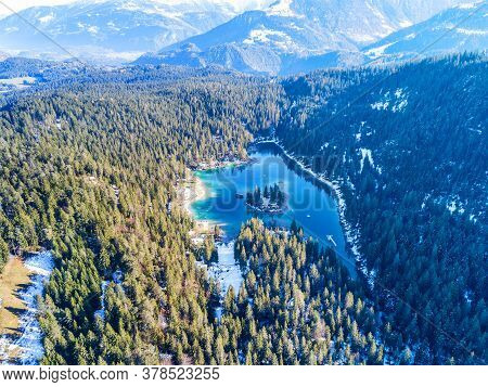 Aerial Image Of The Caumasee Lake With The Overview Into The Valley