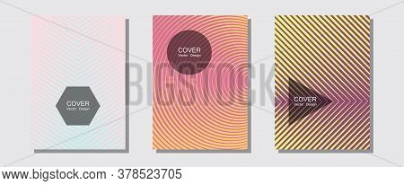 Brochure Covers, Posters, Banners Vector Templates. Musical Album Adverts. Halftone Lines Music Post