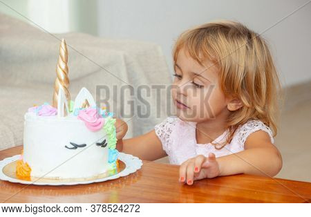 little girl with on her birthday