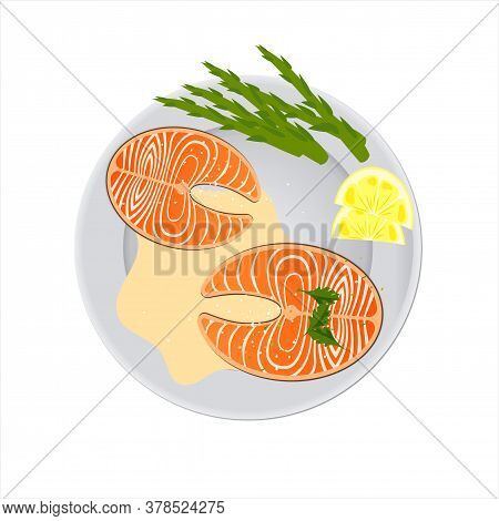 Plate With Salmon Steak, Lemon And Asparagus. View From Above. Seafood Food Concept. Creative Design