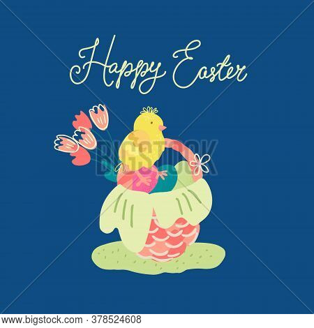 Hand Drawn Vector Illustration Of A Nice Wicker Basket With Tulips, Colorful Eggs And A Cute Chick I