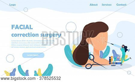 A Banner For Facial Correction Surgery With Female Cartoon Face And Surgery Instruments. Vector Illu