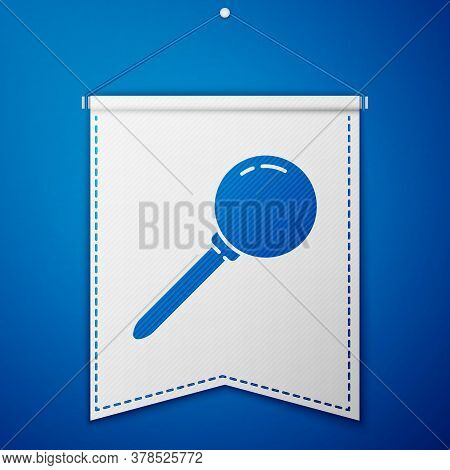 Blue Push Pin Icon Isolated On Blue Background. Thumbtacks Sign. White Pennant Template. Vector Illu