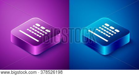 Isometric Cinema Auditorium With Screen And Seats Icon Isolated On Blue And Purple Background. Squar