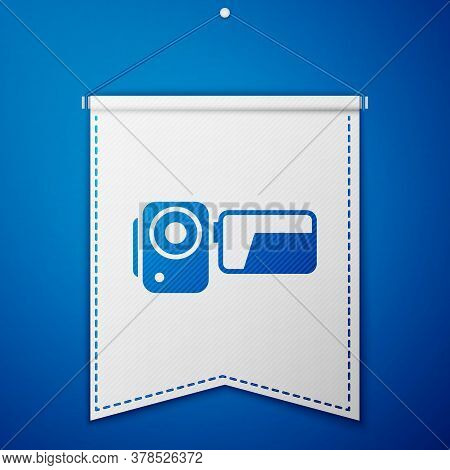 Blue Cinema Camera Icon Isolated On Blue Background. Video Camera. Movie Sign. Film Projector. White
