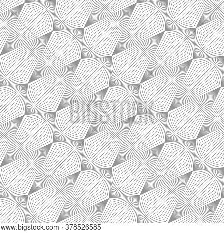 Abstract Pattern With Volumetric Geometric Shapes From Lines. Image With Optical Illusion.