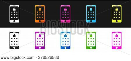 Set Mobile Phone And Graphic Password Protection Icon Isolated On Black And White Background. Securi