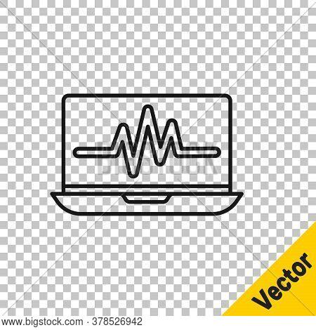 Black Line Laptop With Cardiogram Icon Isolated On Transparent Background. Monitoring Icon. Ecg Moni
