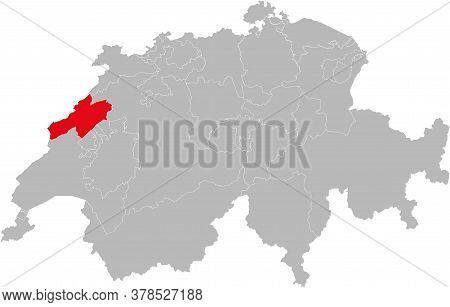 Neuchatel Canton Isolated On Switzerland Map. Gray Background. Backgrounds And Wallpapers.