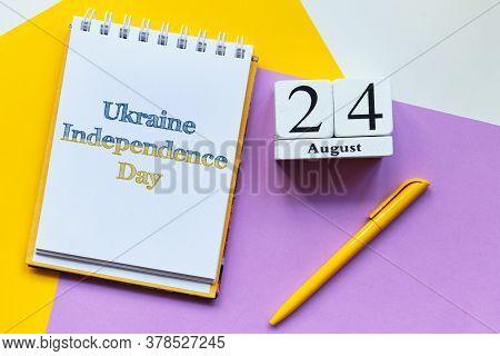 24th August - Ukraine Independence Day. Twenty Fourth Day Month Calendar