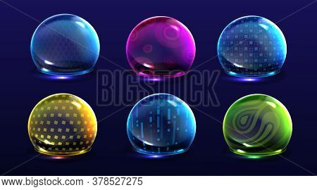 Force Shield Bubbles, Color Energy Glowing Spheres Or Defense Dome Fields. Science Fiction Various D