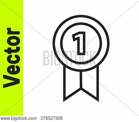 Black Line Medal Icon Isolated On White Background. Winner Achievement Sign. Award Medal. Vector Ill