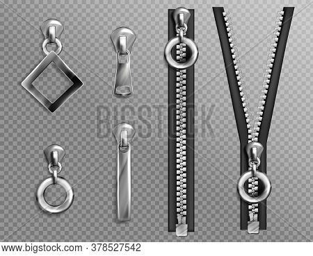 Metal Zip Fasteners, Silver Zippers With Differently Shaped Puller And Open Or Closed Black Fabric T