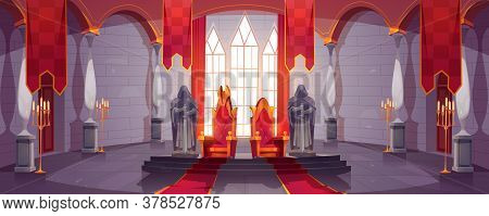 Castle Hall With Thrones For King And Queen. Ballroom Interior, Medieval Palace For Royal Family Wit