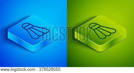 Isometric Line Badminton Shuttlecock Icon Isolated On Blue And Green Background. Sport Equipment. Sq