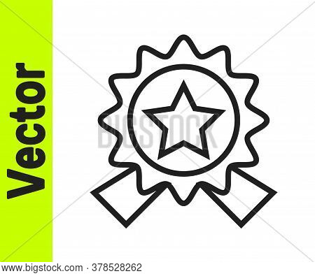 Black Line Medal With Star Icon Isolated On White Background. Winner Achievement Sign. Award Medal.