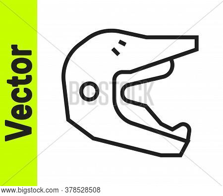 Black Line Motocross Motorcycle Helmet Icon Isolated On White Background. Vector Illustration
