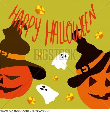 Two Halloween Pumpkins Peek Out Of A Frame With Small White Ghosts, A Concept Of Autumn Holidays.vec