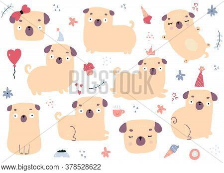 Drawn By Hand Vector Set Of Cartoon Pugs On White Background. Vector Illustration Of Different Doodl