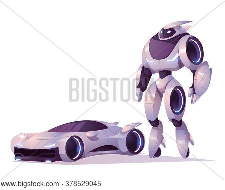 Robot Transformer In Form Of Android And Car Isolated On White Background. Vector Cartoon Illustrati