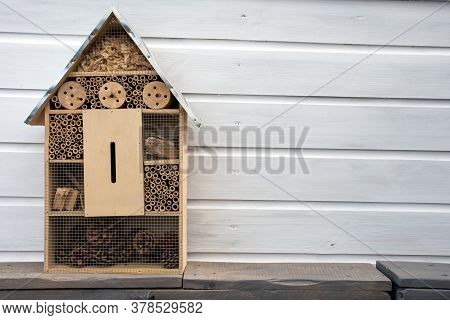 Craftsman Built Insect Hotel Decorative Wood House With Compartments And Natural Components Refuge M