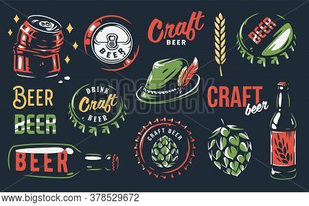 Set Of Beer Emblem. Hop, Barley, Can And Bottle