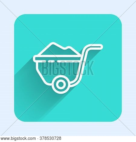White Line Wheelbarrow With Dirt Icon Isolated With Long Shadow. Tool Equipment. Agriculture Cart Wh