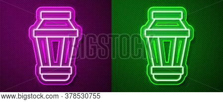 Glowing Neon Line Garden Light Lamp Icon Isolated On Purple And Green Background. Solar Powered Lamp