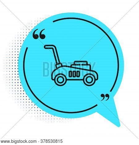 Black Line Lawn Mower Icon Isolated On White Background. Lawn Mower Cutting Grass. Blue Speech Bubbl